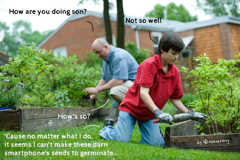 A boy and a man gardening