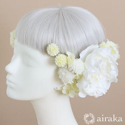 アーティフィシャルフラワー(造花)の白芍薬の髪飾り_airaka