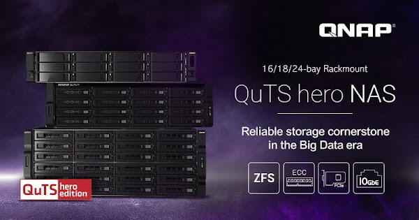 QNAP lança NAS QuTS Hero com montagem em bastidor de 16/18/24 baías