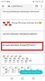 cara membuat tulisan terbalik di instagram secara online