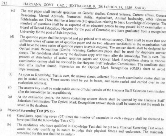 Haryana Constable Exam Syllabus and Pattern