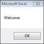 """Step 2 − A Simple Message box is displayed with a message """"Welcome"""" and an """"OK"""" Button Shout4Education"""