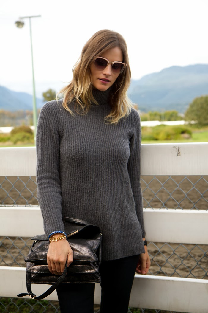 Vancouver Fashion Blogger, Alison Hutchinsons, wearing deep blue rag & bone skinny jeans, a grey turtleneck aritzia sweater, black leather jacket from forever 21, a silver botkier valentina bag, and black boots from zara