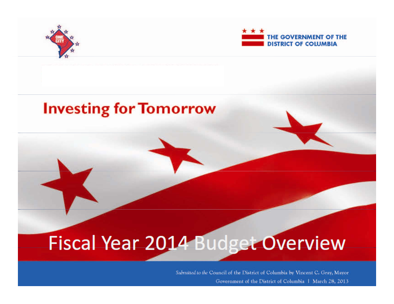 Cover of Mayor Gray's FY 2014 Proposed Budget presentation