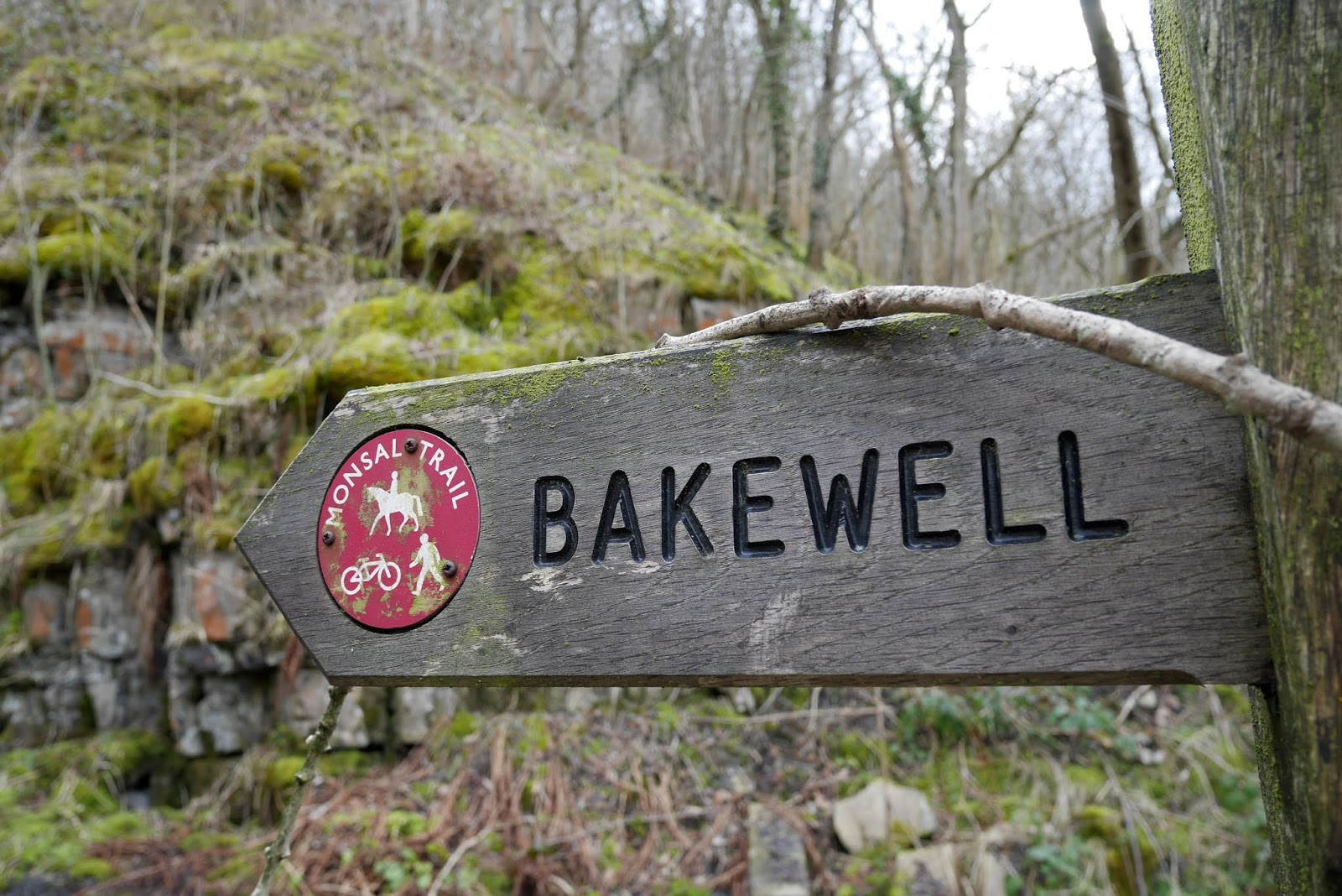 Bakewell footpath sign on the Monsal Trail, Peak District National Park