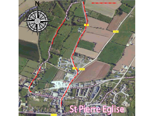 route map of menhir walk in normandy
