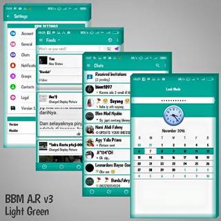 BBM MOD LightGreen V3 (BBM MOD Base 3.1.0.13) Update  Terbaru November 2016