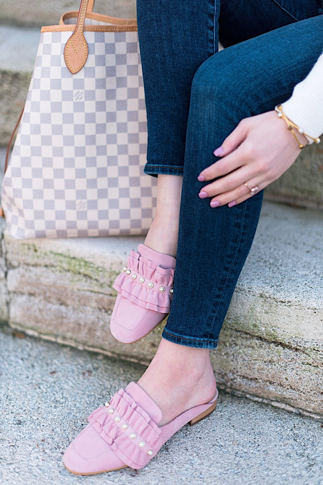 Pearl and Ruffle Mules (Under $70) + Louis Vuitton Neverfull - Something Delightful Blog