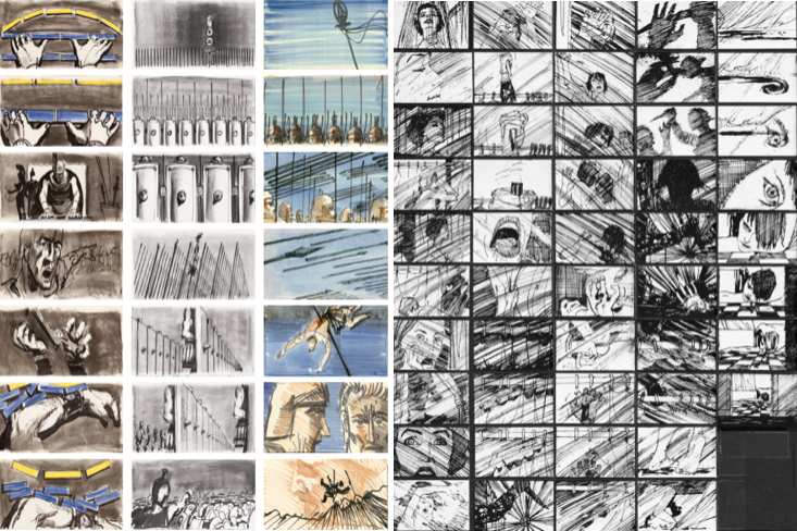 Spartacus and Psycho storyboarding by Saul Bass