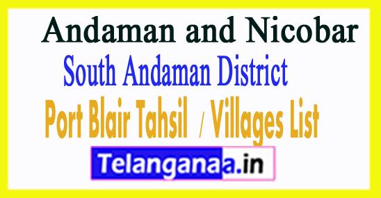 Port Blair Tahsil Villages Codes South Andaman District Andaman and Nicobar Islands State