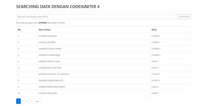 Membuat Pencarian Data Dengan Codeigniter 4