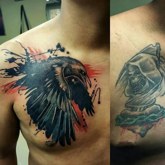 changing color tattoo to black and grey