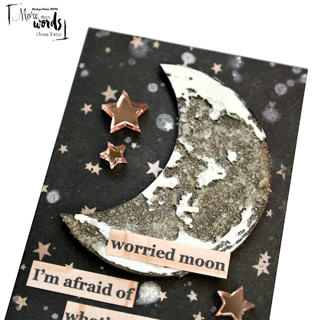 Artist Trading Card with Chipboard Moon Acrylic Stars and Chris Cornell Song Lyrics