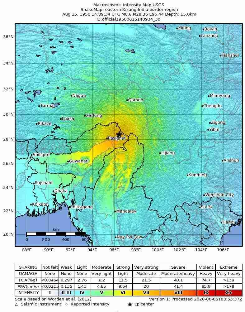 USGS Shakemap Assam-Tibet earthquake