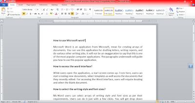 Microsoft word - Home Tab