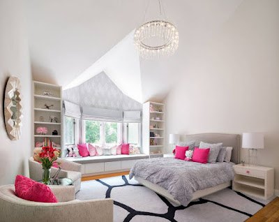 Pink and gray colors for bright bedroom color ideas with duvet cushions headboard and rugs