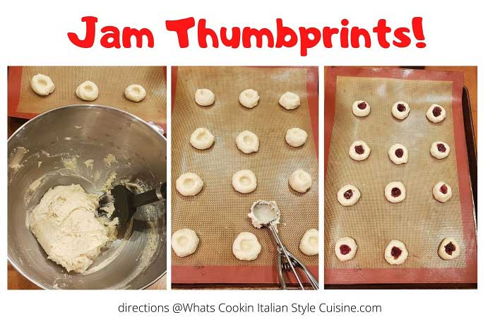 step by step how to make jam thumbprint cookies