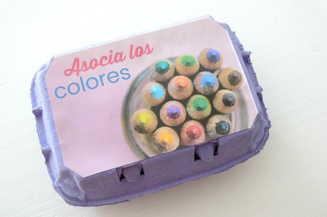 Etiqueta para caja asociación de colores Montessori en casa
