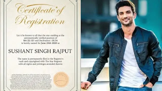 sushant singh rajput's fan names a star after him