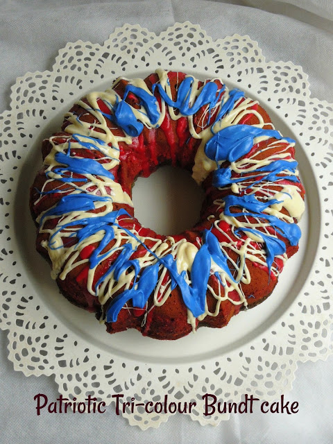 Patriotic Tri-colour Bundt cake