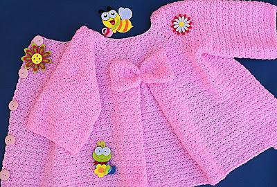 1 - Crochet Imagenes Abrigo rosa a crocher y ganchillo muy fácil y sencillo , lindo por Majovel Crochet