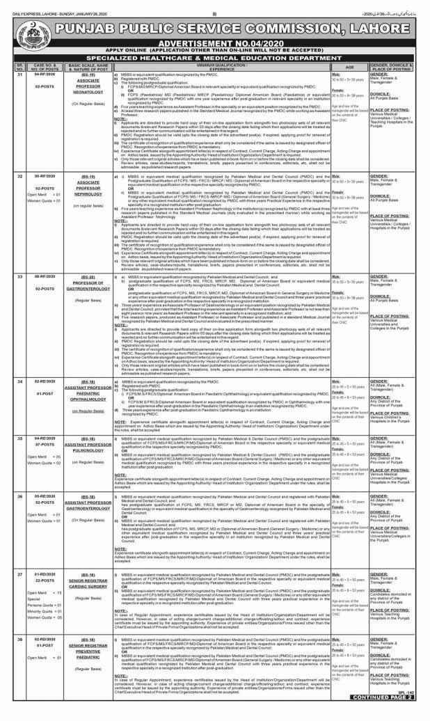 PPSC Jobs Feb 2020