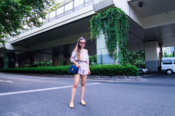off shoulder romper, off shoulder drawstring romper, celine classic box bag, quay sunglasses, everlane babo, street style in Shanghai, san francisco fashion blog