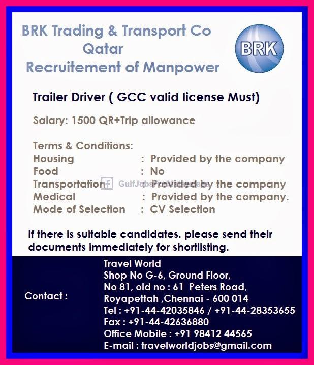 BRK Trading & Transport Company Qatar - Gulf Jobs for Malayalees