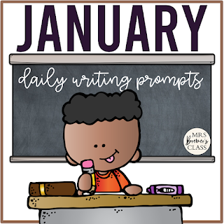 January writing prompt templates for daily journal writing or a writing center in Kindergarten First Grade Second Grade