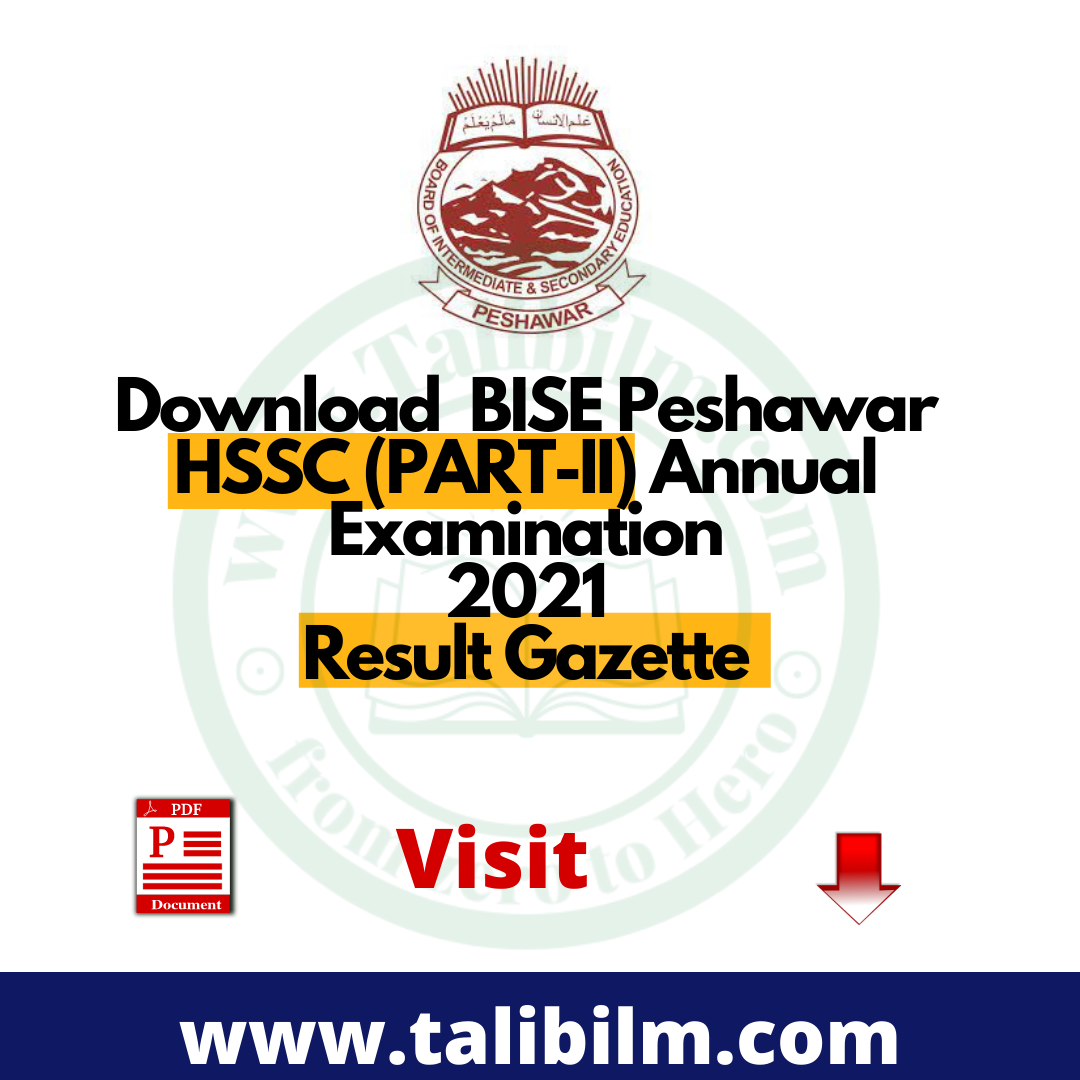 Download BISE Peshawar HSSC (PART-II) Annual Examination 2021 Result Gazette