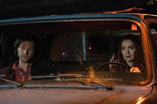 "Jared Padalecki as Sam Winchester and Felicia Day as Charlie Bradbury in Supernatural 14x06 ""Optimism"""