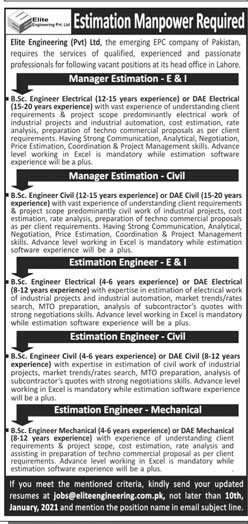 Elite Engineering Pvt Limited Jobs 2021 Lahore Latest Advertisement For Estimation Engineer, Manager Estimation Posts