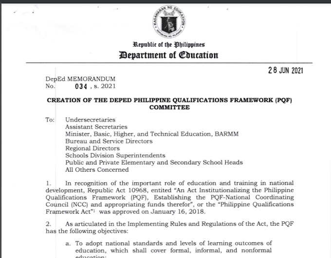DM No.034 s 2021: CREATION OF THE DEPED PHILIPPINE QUALIFICATIONS FRAMEWORK (PQF)COMMITTEE