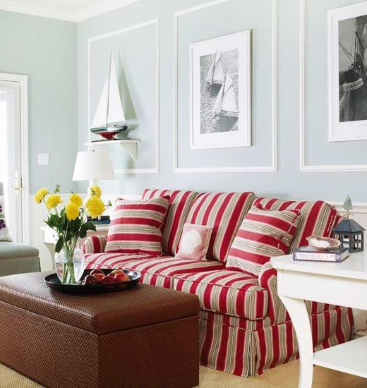 Red Striped Sofa Idea