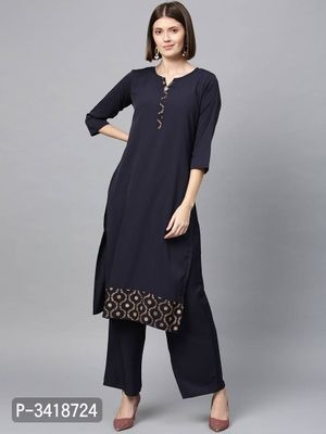 Trendy Printed Crepe Straight Women Kurta.