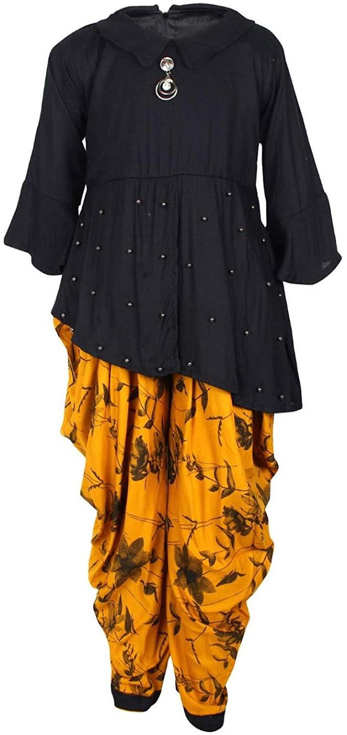 Arshia Fashions Girls Kurti and Dhoti Salwar Set Yellow