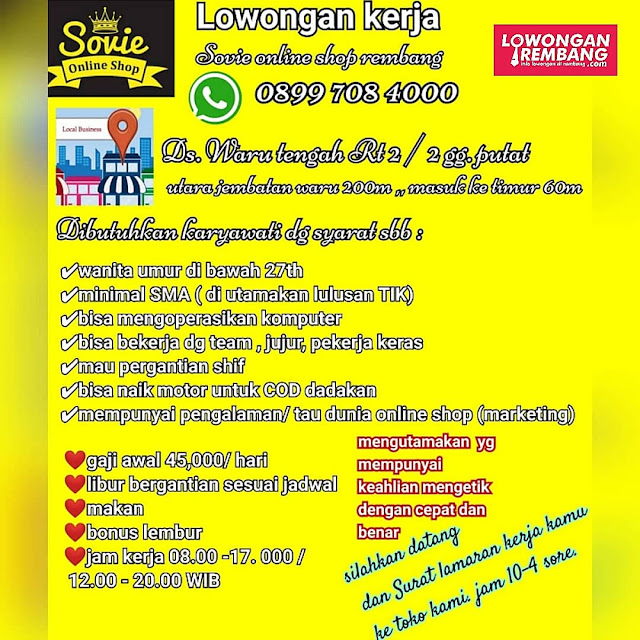Lowongan Kerja Pegawai Sovie Online Shop Rembang