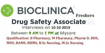 BIOCLINICA - Walk-In Drive for B.Pharm   M.Pharm   Pharm.D   Nursing   Dental Graduate Freshers on 10th Oct' 2019