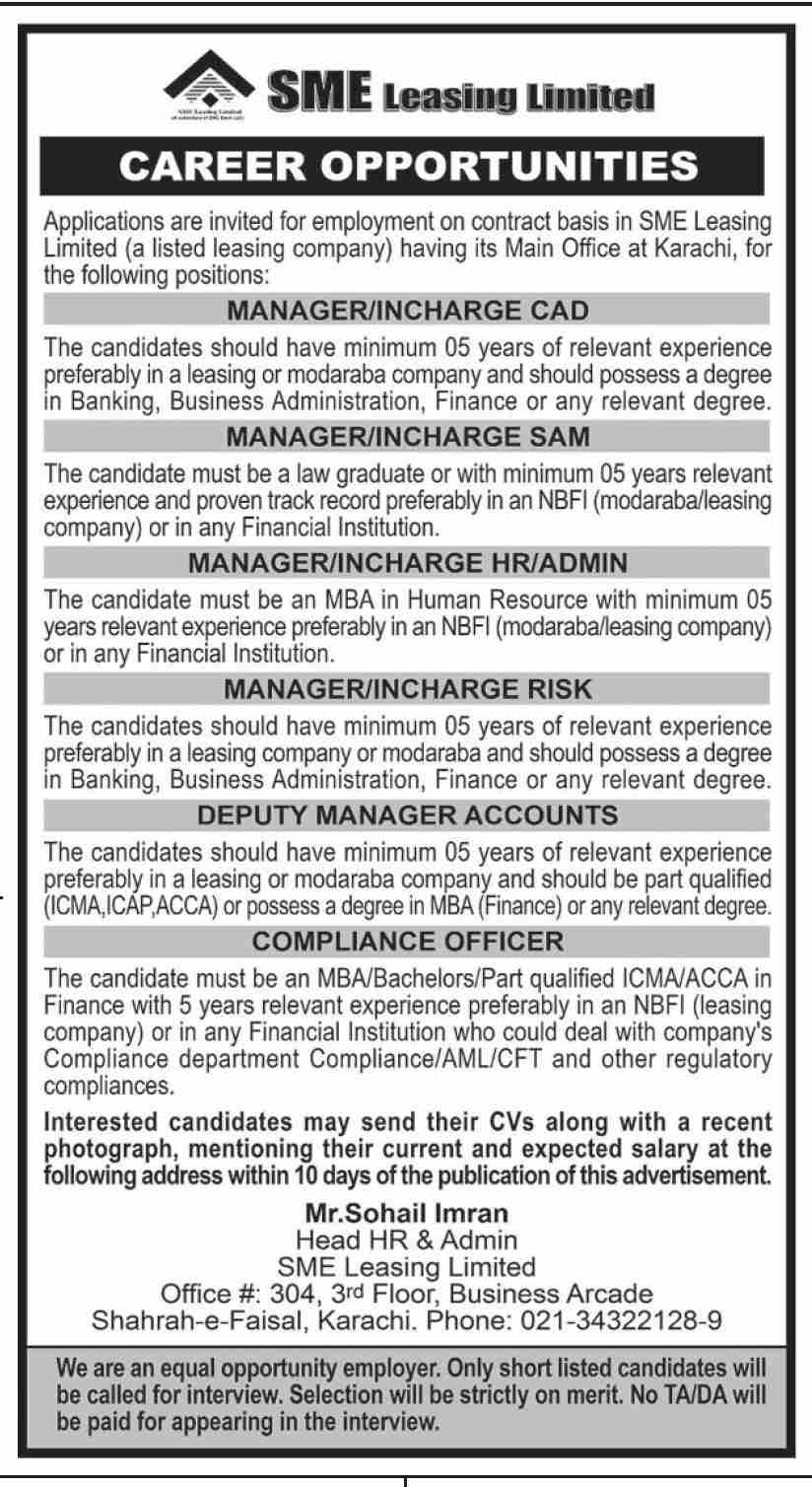 Jobs in Karachi 2021 - SME Leasing Limited Jobs 2021 - Latest Jobs in Pakistan For Male and Female