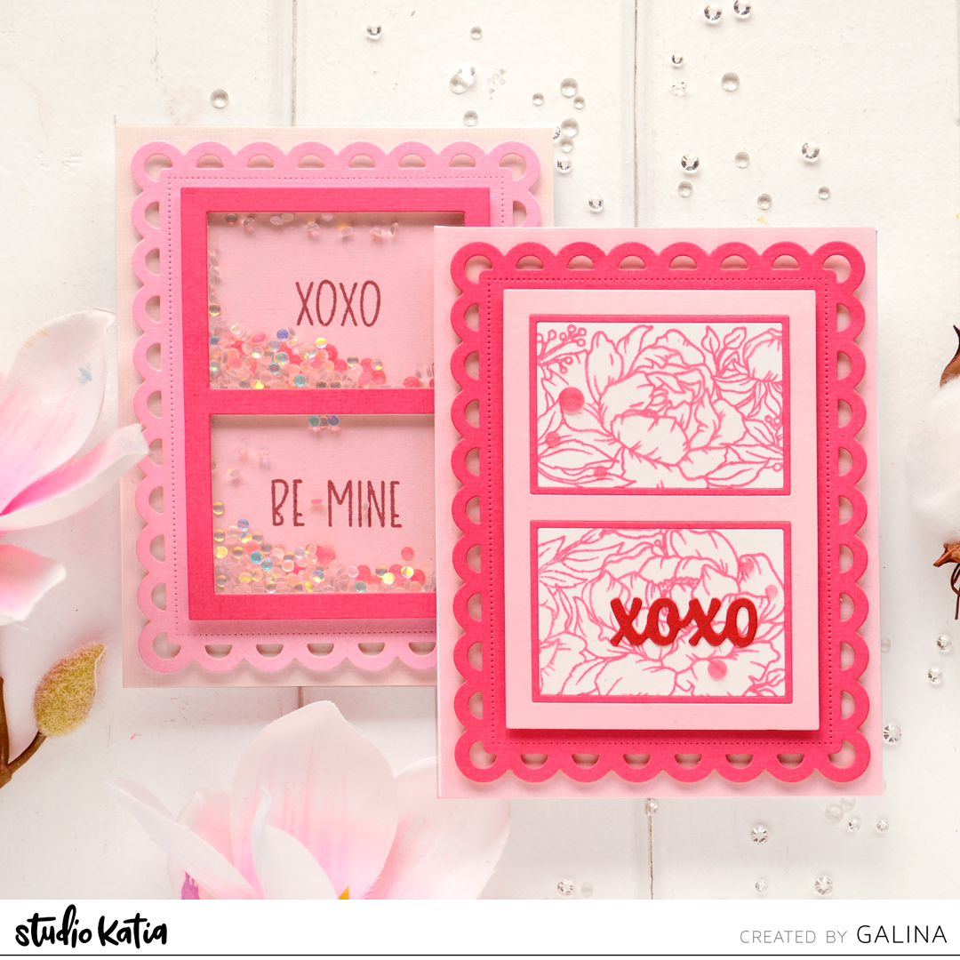 Studio Katia DOTTED PATTERNS SET 4 dies, LOVELY WORDS dies, PEONY TRIMMING Sstamp