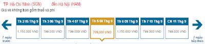 Giá vé máy bay đi Hà Nội tháng 9 hãng Vietnam Airlines