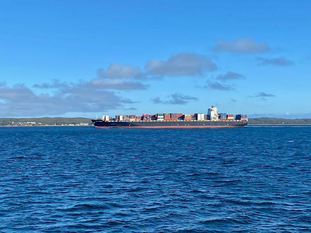 Container ship near Sorrento