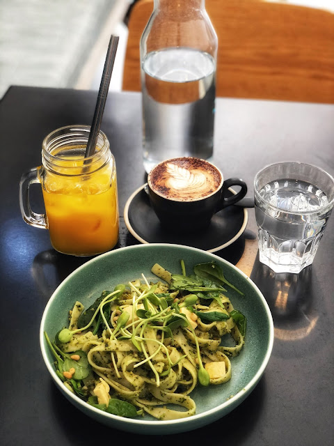 dickis cafe in brisbane vegan tagliatelle with green basil pesto and macadamian cheese