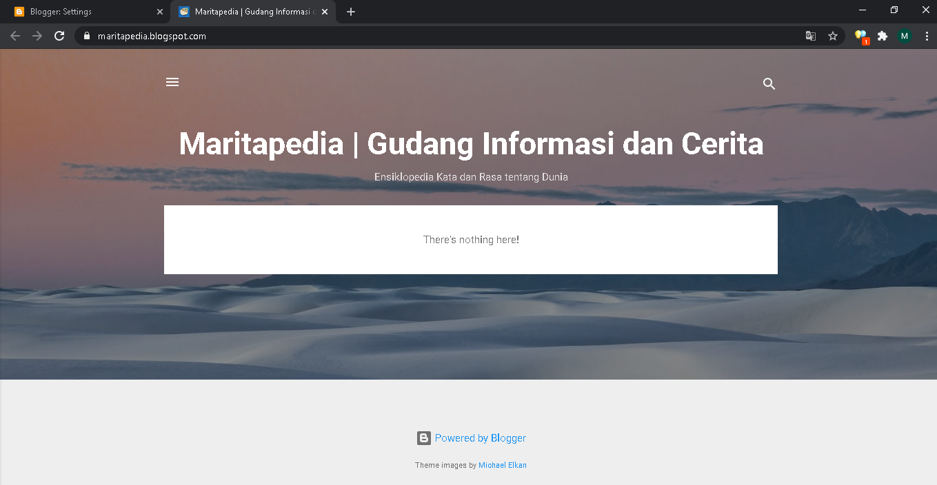 tampilan default blog baru di blogspot