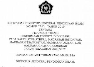 Juknis PPDB RA dan Madrasah MI MTs MA Tahun 2020/2021