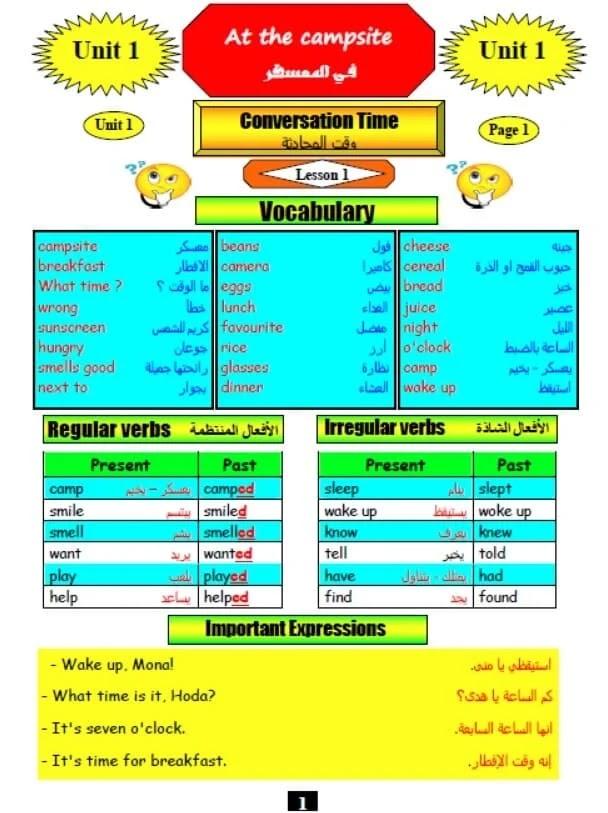 ملزمة لغة انجليزية للصف الخامس الإبتدائي ترم اول لعام 2021