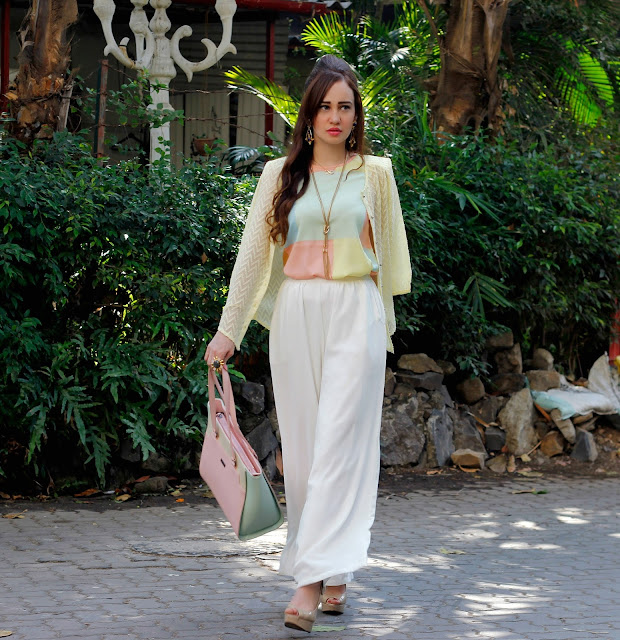 Vero Moda Spring/Summer 2016, Pastel Color Blocked Top, Pastel Yellow Shirt, white palazzo pants, pastel color blocked bag