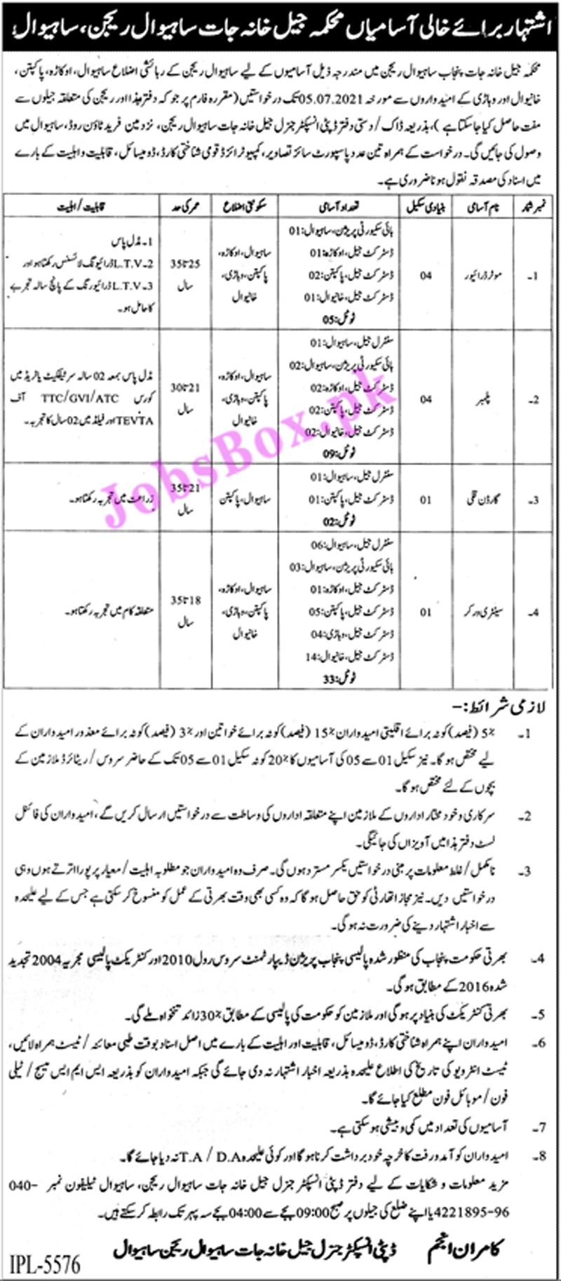 Prison Department Punjab Jobs 2021 Latest Vacancies - Jail Khana Jat Sahiwal Region Jobs 2021 Latest Advertisement