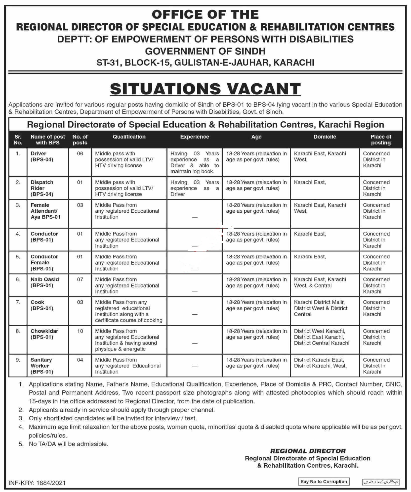 Special Education & Rehabilitation Centers Karachi Jobs 2021 for Driver, LTV Driver, HTV Driver, Dispatch Rider, Female Attendant, Conductor, Conductor Female, Naib Qasid, Cook, Chowkidar, Sanitary Worker