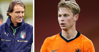 Roberto Mancini impressed with Barcelona midfielder Frenkie de Jong's stunning performance against Italy
